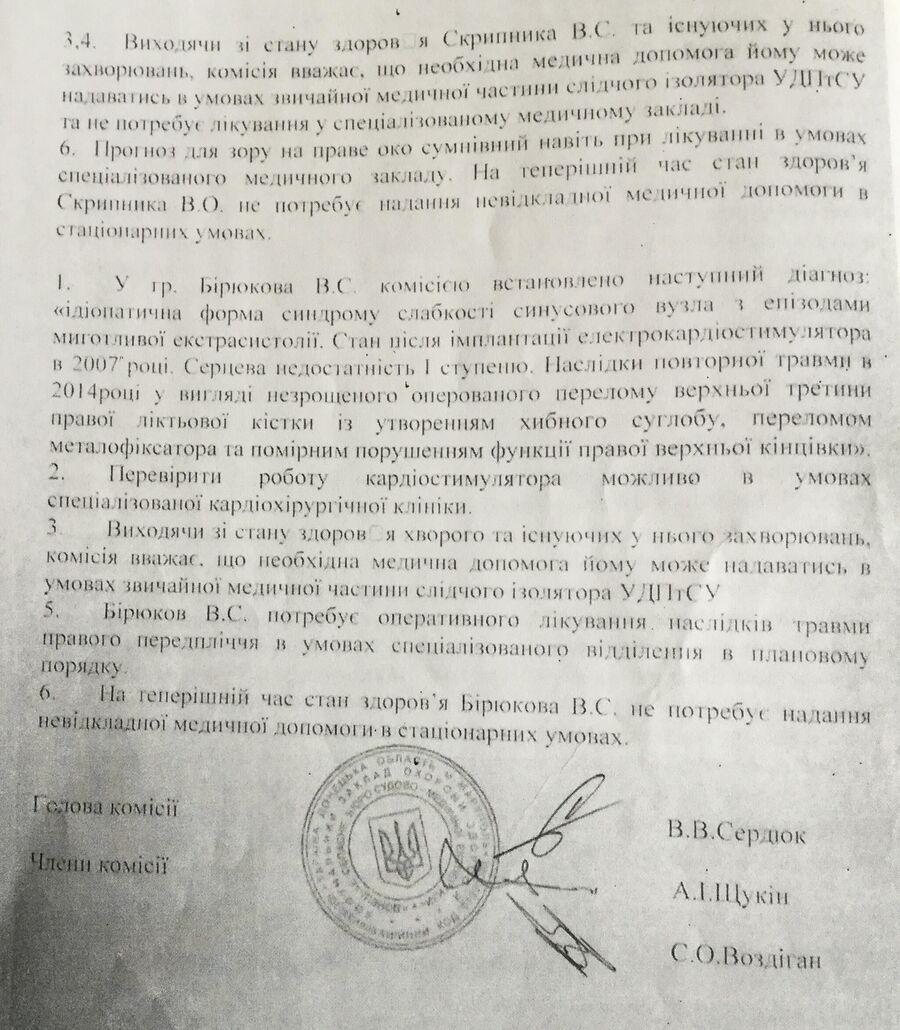 Украинская медэкспертиза о состоянии здоровья ополченцев