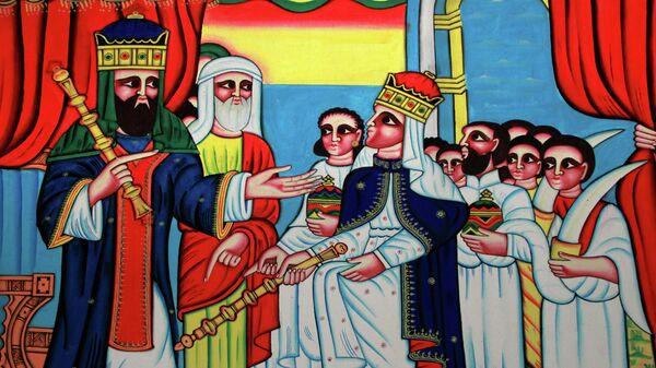 Встреча царя Соломона с царицей Савской. Картина из музея Аксума. Эфиопия