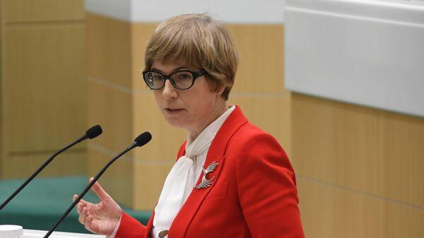 Первый заместитель председателя Центрального банка РФ Ксения Юдаева выступает на парламентских слушаниях   по бюджету на 2020-2022 гг. 4 октября 2019