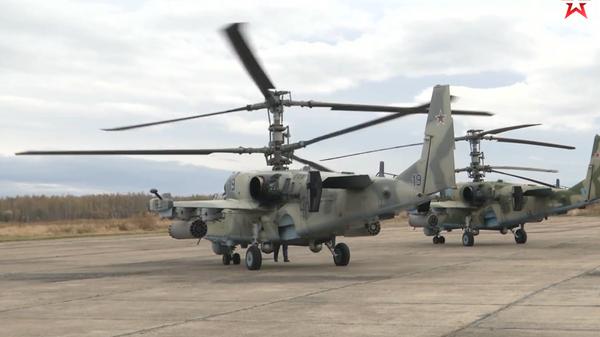 Опубликовано видео боевых стрельб ударных вертолетов Ка-52