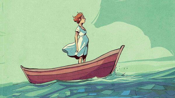 Обложка комикса французской писательницы Ингрид Шабберт и художницы Карол Морель Waves (Волны)