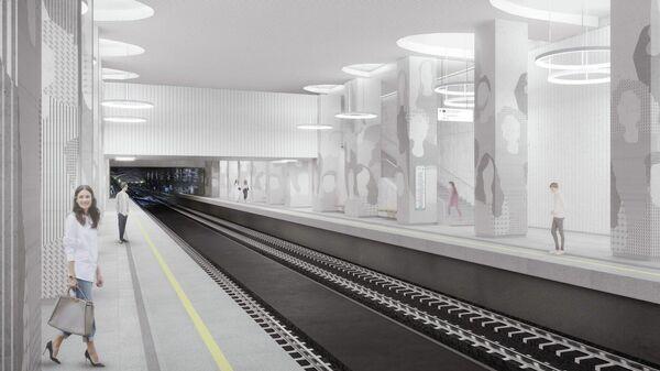 Проект строящейся станции московского метро Мнёвники