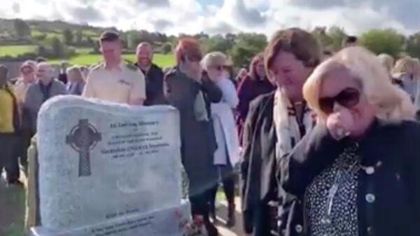 Стоп-кадр видео с церемонии похорон ветерана вооруженных сил Ирландии Шея Брэдли