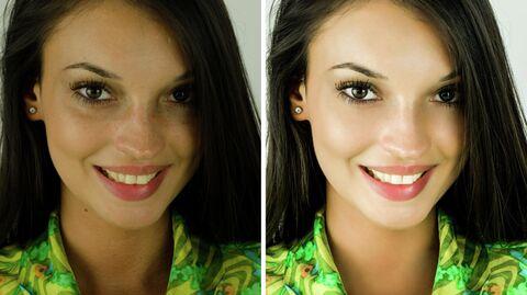Портрет девушки до и после ретуширования в фотошопе