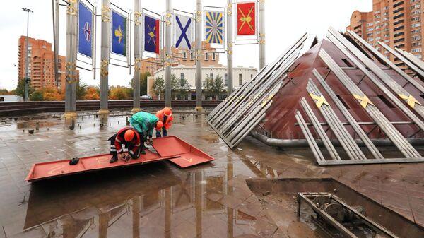 Консервация на зимний сезон фонтана Музыка славы на Площади Славы в Москве