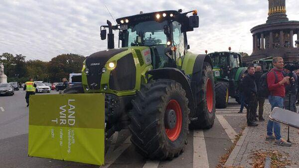 Акция протеста немецких фермеров в Берлин