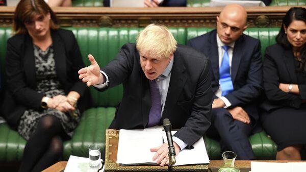 Премьер-министр  Великобритании Борис Джонсон на заседании палаты общин в Великобритании