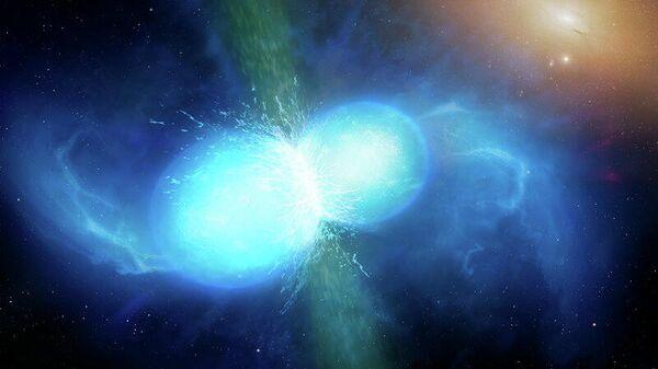 Так в представлении художника выглядит слияние двух небольших, но очень плотных нейтронных звезд. В точке слияния они взрываются как килонова