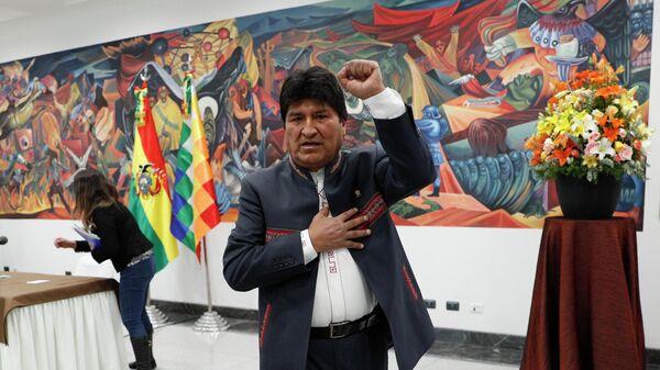 Президент Боливии Эво Моралес после пресс-конференции в Ла-Пас, Боливия. 24 октября 2019