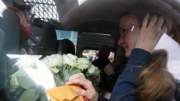Мария Бутина, освобожденная из тюрьмы в США, в международном аэропорту Шереметьево