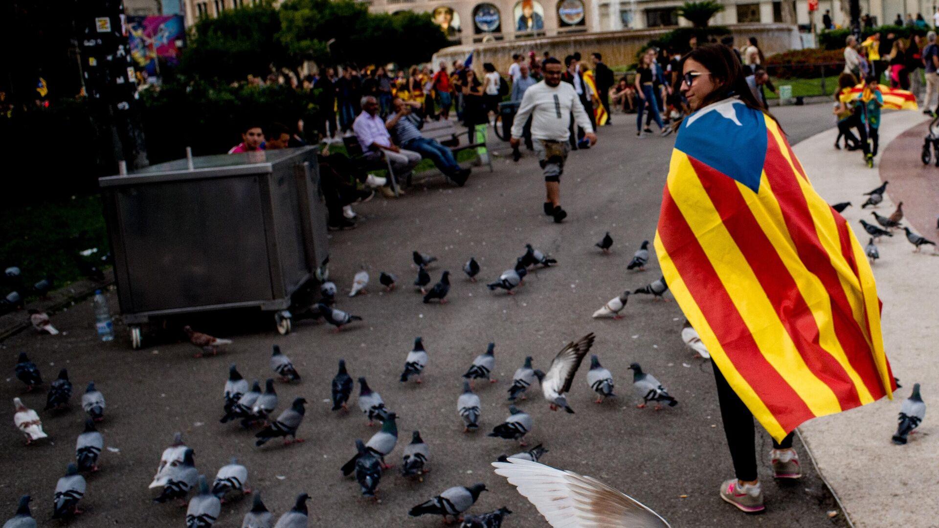 Акция протеста в Барселоне - РИА Новости, 1920, 29.10.2020