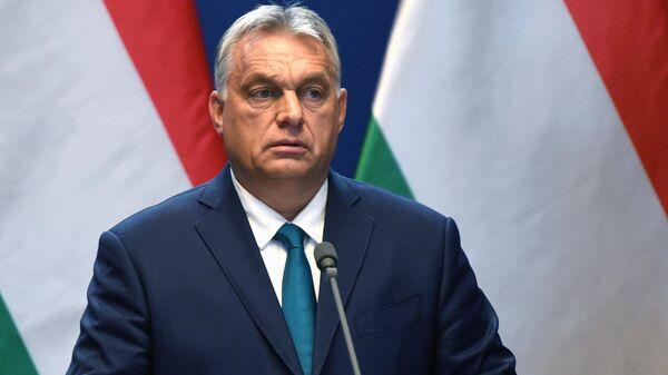 Премьер-министр Венгрии Виктор Орбан во время совместной пресс-конференции по итогам встречи с президентом РФ Владимиром Путиным
