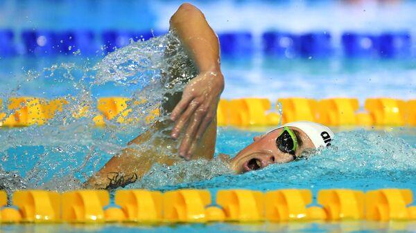 Илья Дружинин (Россия) на соревнованиях по плаванию на дистанции 1500 м комплексом среди мужчин на VI этапе Кубка мира по плаванию в Казани.