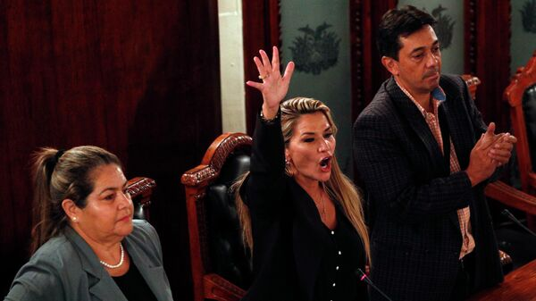 Оппозиционный сенатор Боливии Жанин Аньес объявляет себя временным президентом страны во время сессии в Конгрессе в Ла-Пасе. 12 ноября 2019