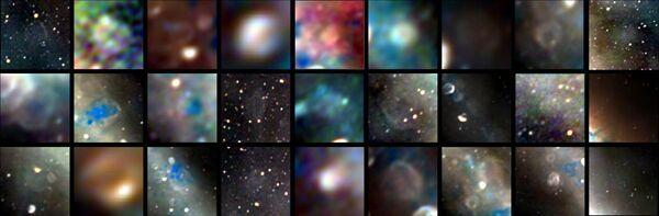 Радиоизображения 27 объектов, обнаруженные в результате исследования – остатков сверхновых, взорвавшихся  от тысячи до сотен тысяч лет назад