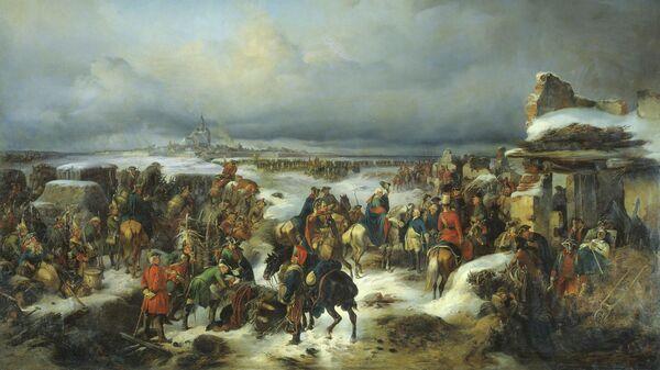 Картина художника Александра Коцебу Взятие крепости Кольберг в ходе Семилетней войны