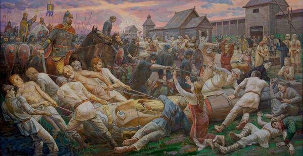 Картина художника Евгения Штырова Попрание древнерусских богов