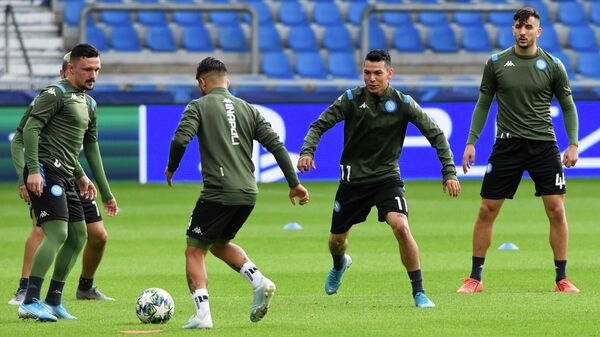 Игроки ФК Наполи во время тренировки
