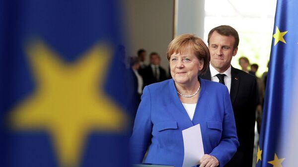 Канцлер Германии Ангела Меркель и президент Франции Эммануэль Макрон