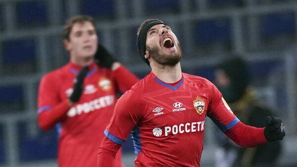 Игрок ЦСКА Никола Влашич радуется забитому мячу