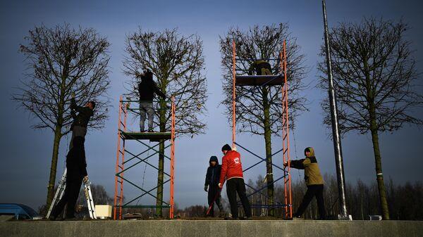 Строительство парка Остров мечты в Нагатинской пойме в Москве