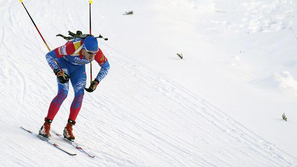 Матвей Елисеев (Россия) на дистанции спринта 10 км среди мужчин на первом этапе Кубка мира по биатлону сезона 2019/20 в Эстерсунде.