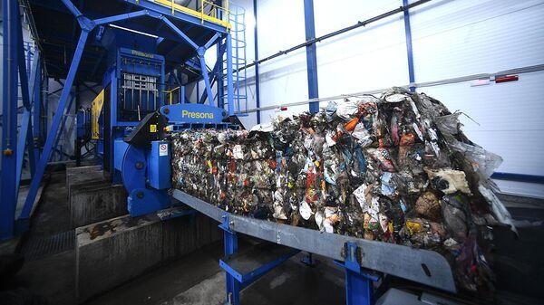 Работа комплекса по переработке отходов