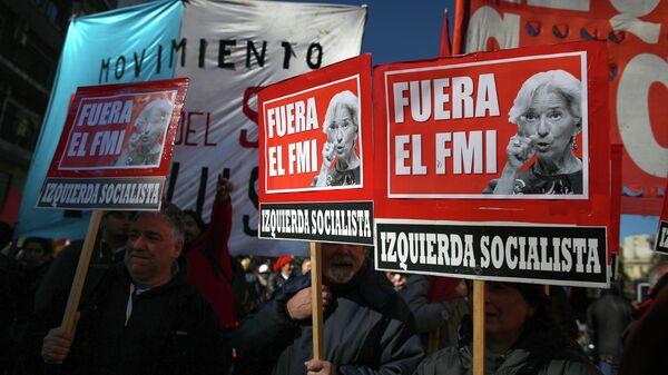 Акция протеста против соглашения с МВФ в Буэнос-Айресе