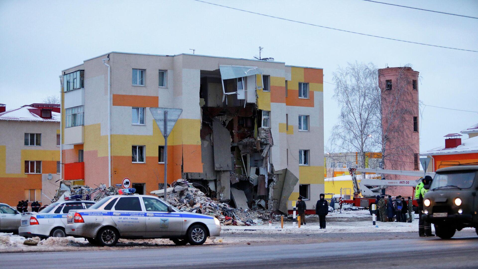 Разбор завалов на месте взрыва газа в Белгородской области - РИА Новости, 1920, 23.03.2021