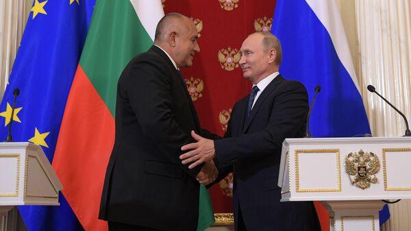 Президент РФ Владимир Путин и премьер-министр Болгарии Бойко Борисов на пресс-конференции по итогам встречи. 30 мая 2018