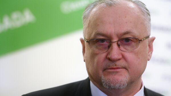 Генеральный директор Национальной антидопинговой организации РУСАДА Юрий Ганус во время интервью в Москве после пресс-конференции