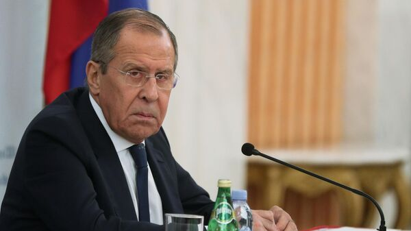 Министр иностранных дел РФ Сергей Лавров во время пресс-конференции по итогам визита в США в посольстве России