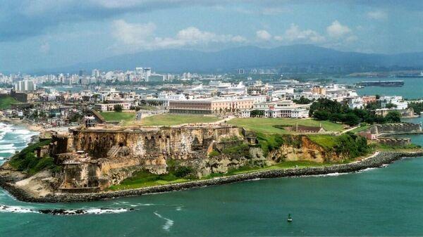 Вид на город Сан-Хуан с воздуха, Пуэрто-Рико