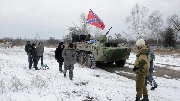 Жители Чернухино и ополченцы ЛНР