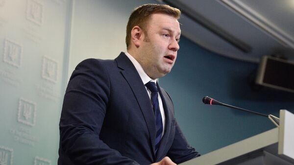 Министр энергетики и защиты окружающей среды Украины Алексей Оржель во время брифинга в Киеве