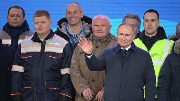Президент РФ Владимир Путин на церемонии открытия движения по железнодорожной части Крымского моста