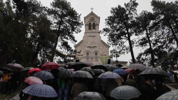 Акция протеста против законопроекта о свободе вероисповедания в Никшиче, Черногория. 21 декабря 2019