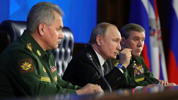 Верховный главнокомандующий, президент РФ Владимир Путин на ежегодном расширенном заседании коллегии министерства обороны РФ. 24 декабря 2019