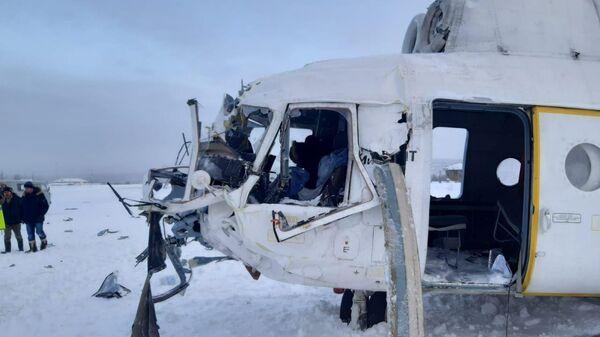Место жесткой посадки вертолета Ми-8 в Красноярском крае. 25 декабря 2019
