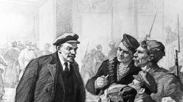 Репродукция рисунка Петра Васильева В. И. Ленин из серии Лениниана.