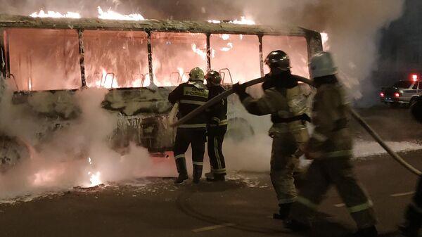 Рейсовый автобус ПАЗ сгорел в Йошкар-Оле. 27 декабря 2019