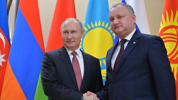 Президент РФ Владимир Путин и президент Республики Молдова Игорь Додон