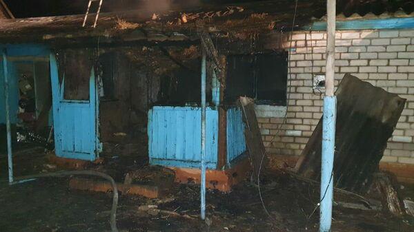 На месте пожара в частном доме в селе Горькая Балка на Ставрополье