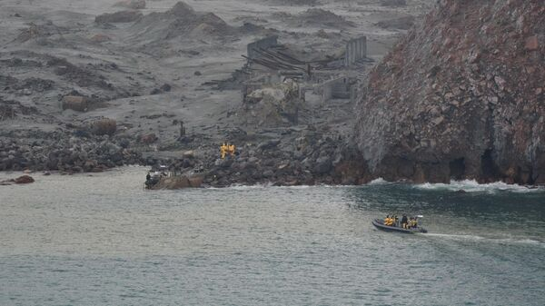 Новозеландские военные и спасатели на месте извержения вулкана на острове Уайт-Айленд