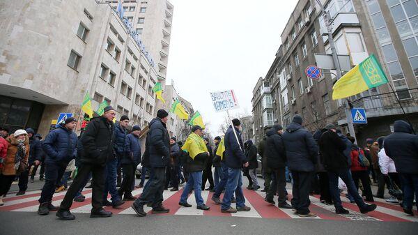 Участники митинга против законопроекта о продаже сельскохозяйственных земель в Киеве