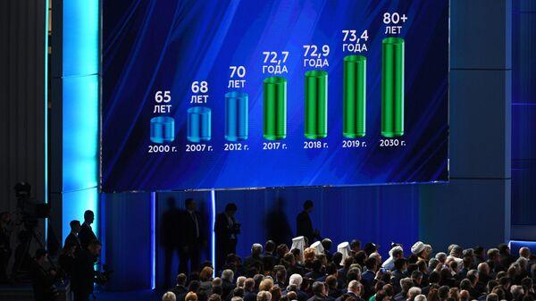 Демонстрация графика продолжительности жизни в 2000 - 2030 годы во время выступления президента РФ Владимира Путина с ежегодным посланием Федеральному Собранию