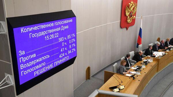 Результаты голосования депутатов Государственной Думы РФ по утверждению на пост премьер-министра РФ Михаила Мишустина