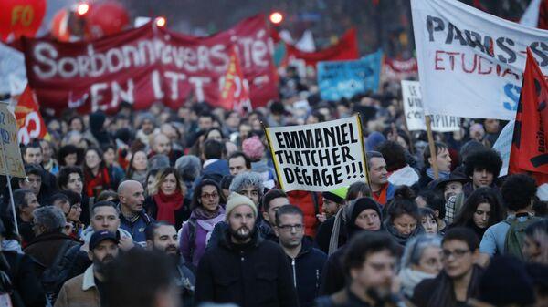 Демонстрации против пенсионной реформы в Париже, Франция. 16 января 2020
