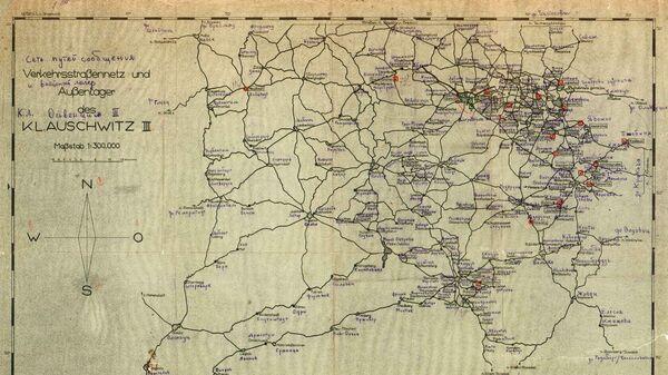 Схема немецкой сети путей сообщения между концлагерями, расположенными на территории Польши