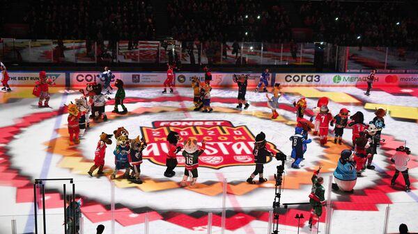 Талисманы клубов КХЛ перед началом мастер-шоу